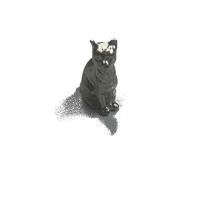 Statuette chat en étain