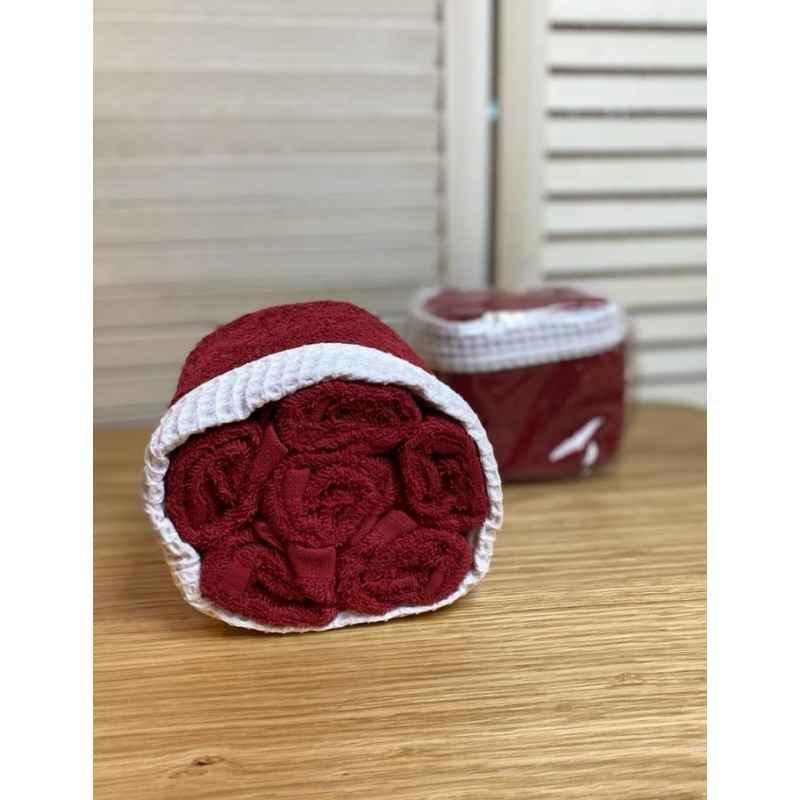 Panier de 6 serviettes bordeaux