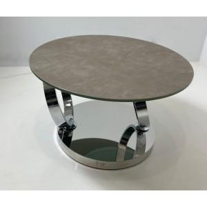 Table basse céramique taupe et verre trempé Julia