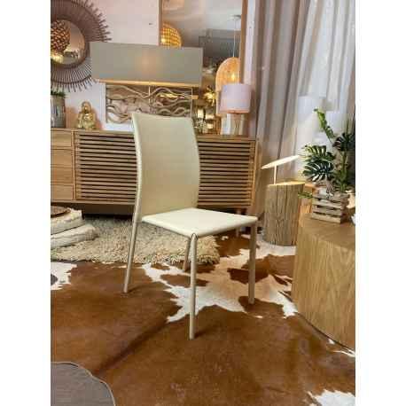 Chaise beige en cuir écologique H.90 cm Liel