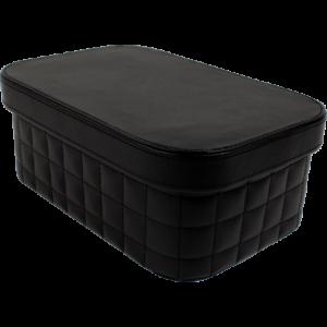 Boîte de rangement quadrillée noire 43,5cm