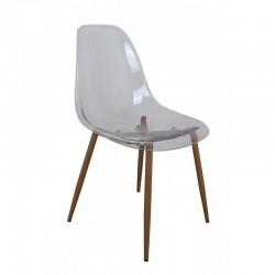 Chaise transparente pieds façon bois