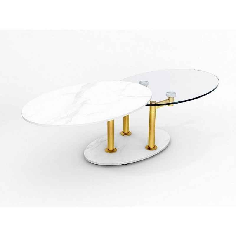Table basse plateau effet marbre blanc et verre trempé