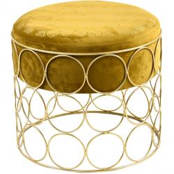 Pouf rond tissu et acier doré