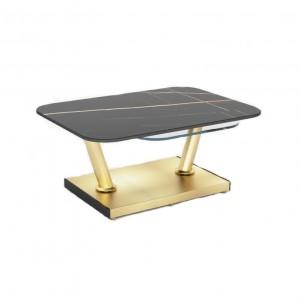 Table basse plateau effet marbre noir et verre trempé