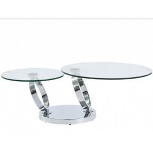 Table basse double plateaux rotatifs en verre trempé et métal chromé Julia