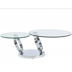 Table basse double plateaux rotatifs en verre trempé et métal chromé ou brossé Julia