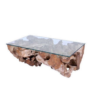 Table basse ronde en racine de teck D.100 cm
