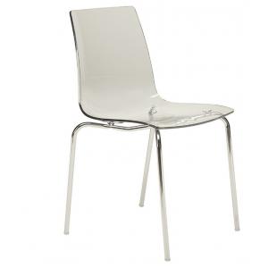 Chaise plexi transparent pieds chromés