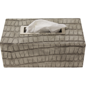 Boîte à mouchoirs rectangle croco taupe inox