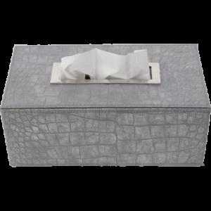 Boîte à mouchoirs rectangle croco gris clair irisé inox