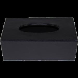 Boîte à mouchoirs rectangle noire, fond creux