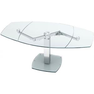 Table à manger extensible verre trempé et métal Lina