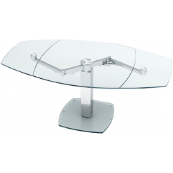 Table à manger extensible L.115-200xl.115xH.74 cm verre trempé et métal Lina