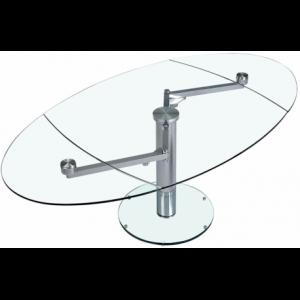 Table à manger extensible verre trempé et chromé ou brossé Théo