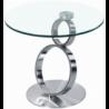 Bout de canapé en verre trempé et métal chromé ou brossé Julia