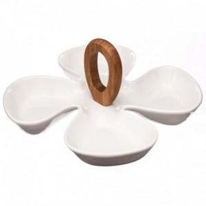 Service apéritif porcelaine blanc poignée bambou