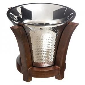 Seau à champagne H.25 métal martelé et son socle en bois
