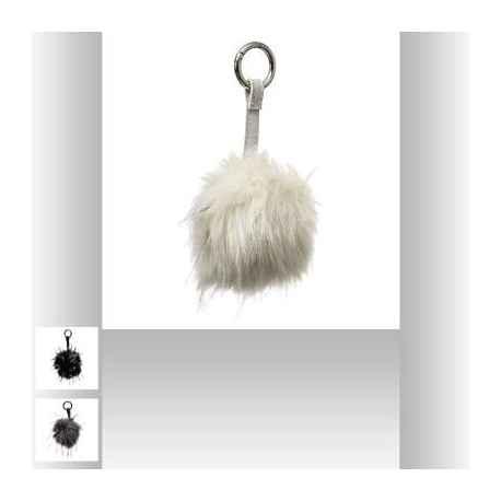 Porte-clefs fourrure noire