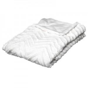 Plaid blanc strié 130 x 160 cm