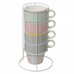 Coffret de 4 tasses sur rack Moza couleurs pâles