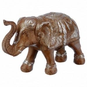 Eléphant en résine blanchie/marron H.15