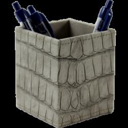 Pot à crayons croco taupe