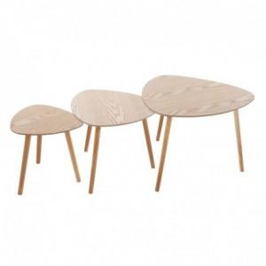 Set 3 tables d'appoint Mileo en bois