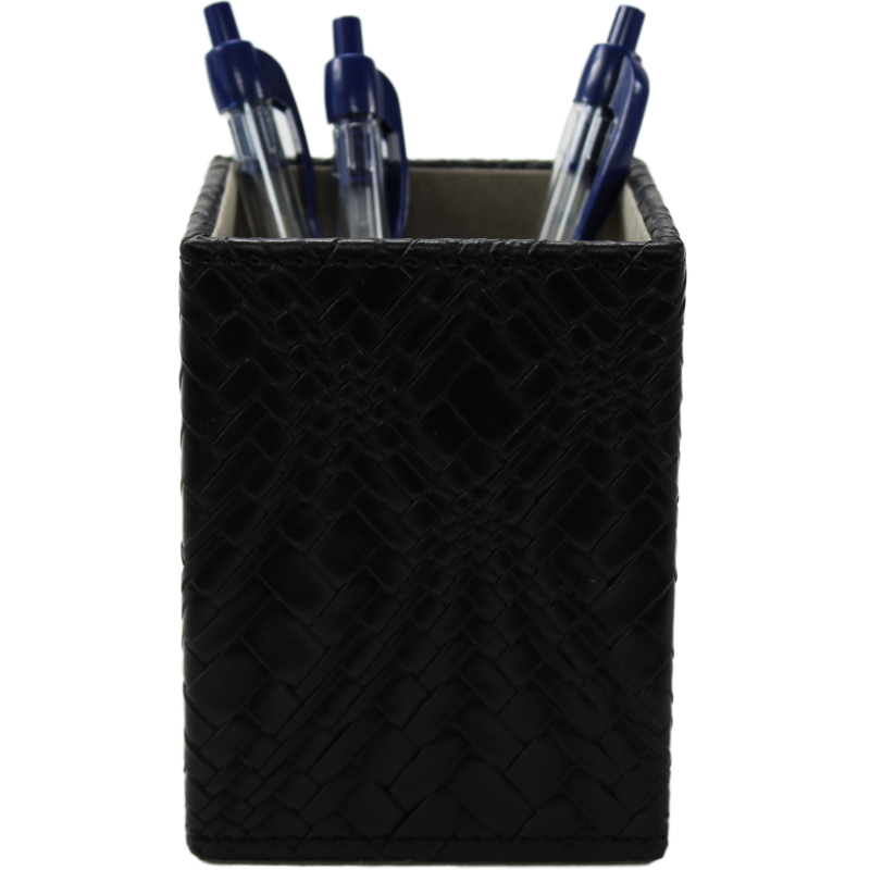 Pot à crayons tressé noir