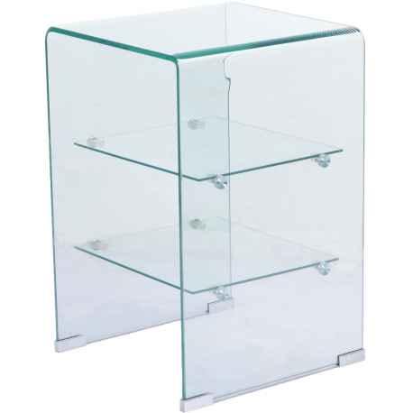 Chevet en verre trempé 2 étagères L.40xl.40xH.50 cm